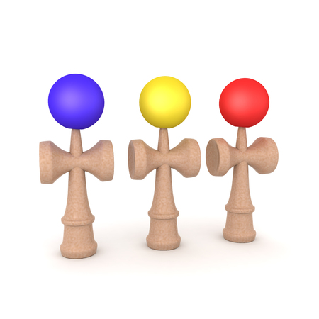 3D Rendering of three colored kendama toys. 3D rendering isolated on white. Banco de Imagens
