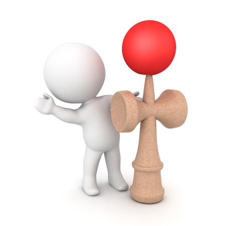 3D Character waving from behind kendama toy. 3D rendering isolated on white. Banco de Imagens