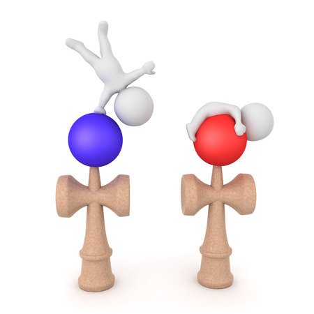 3D Characters standing on top of kendama toys. 3D rendering isolated on white.