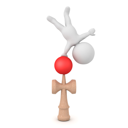 3D Character handstanding on kendama toy. 3D rendering isolated on white. Banco de Imagens