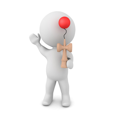 3D Character with kendama toy. 3D rendering isolated on white.