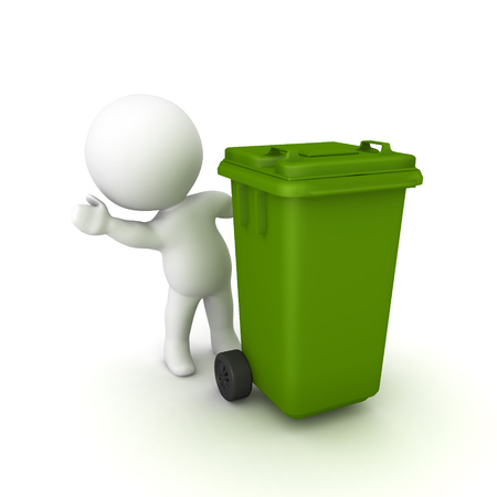 3D Character waving from behind wheelie bin. 3D rendering isolated on white.