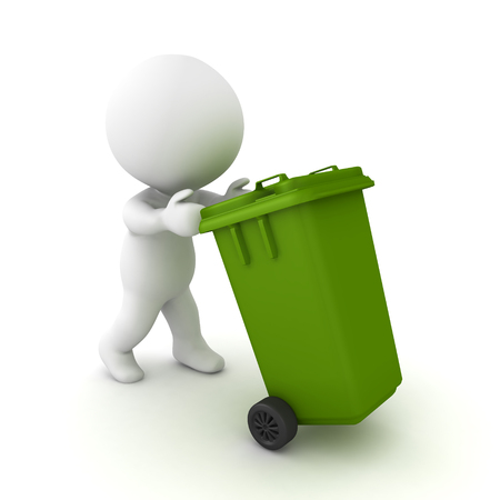 3D Character pushing wheelie bin. 3D rendering isolated on white.