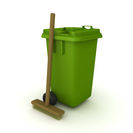 3D Rendering of wheelie bin and broom. 3D rendering isolated on white.