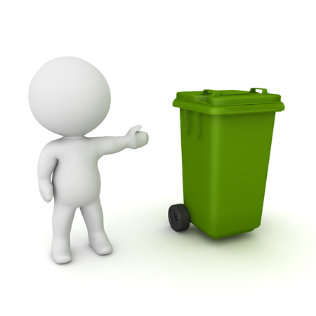 3D Character showing wheelie bin. 3D rendering isolated on white.