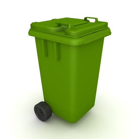 3D Rendering of green wheelie bin trash can. 3D rendering isolated on white.
