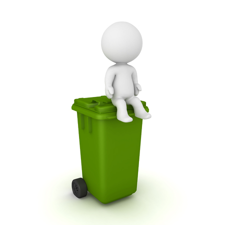 3D Character sitting on top of a wheelie bin. 3D rendering isolated on white. Stok Fotoğraf