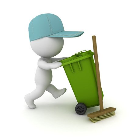 3D Janitor pushing wheelie bin. 3D rendering isolated on white. Stok Fotoğraf