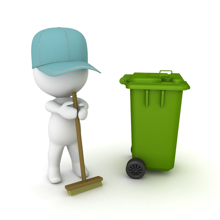 3D Janitor with broom and wheelie bin. 3D rendering isolated on white.