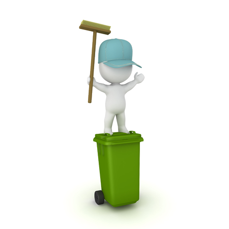 3D Janitor standing on top of wheelie bin with arms raised. 3D rendering isolated on white.