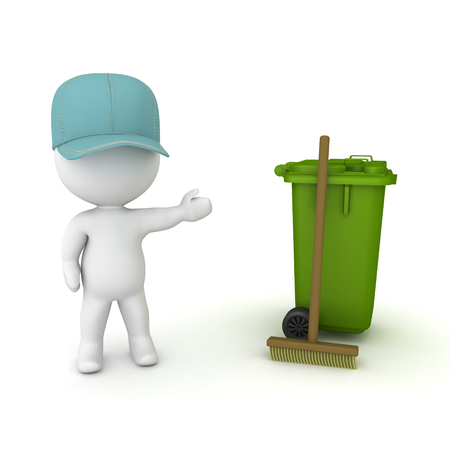 3D Janitor showing broom and wheelie bin. 3D rendering isolated on white.
