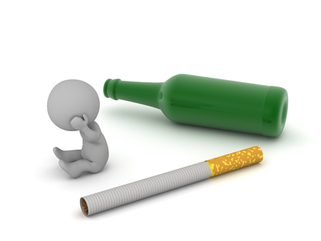 An upset 3D character with a beer bottle and a cigarette. Isolated on white background.