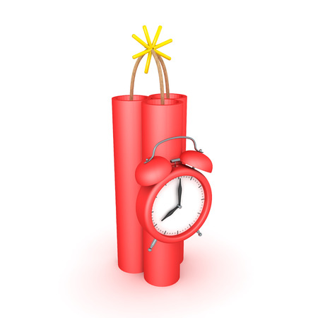 3D Rendering of dynamite with clock strapped to it. 3D rendering isolated on white.