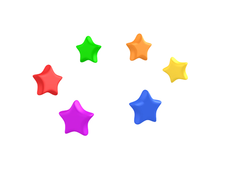 3D Rendering of cute bouncy colorful stars. 3D rendering isolated on white.