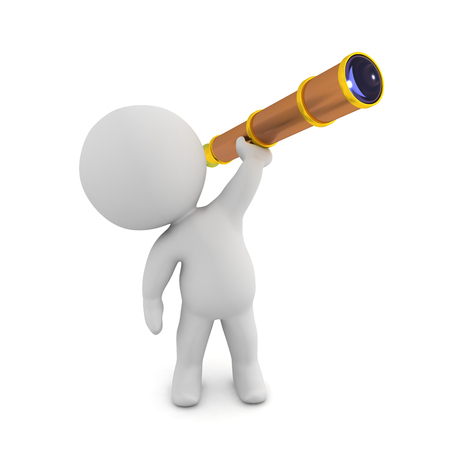 3D Character holding up spyglass. 3D rendering isolated on white.