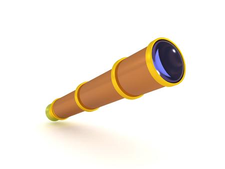 3D Rendering of telescope spyglass. 3D rendering isolated on white.