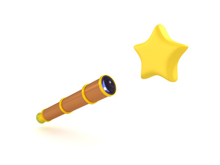 3D Rendering of telescope and star. 3D rendering isolated on white. Banco de Imagens
