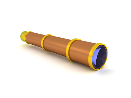 3D Rendering of spyglass. 3D rendering isolated on white.
