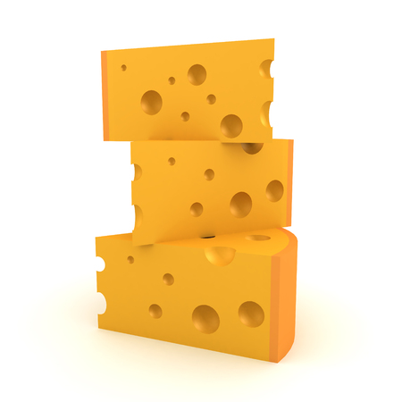 3D Rendering of a stack of cheese slices. 3D rendering isolated on white.