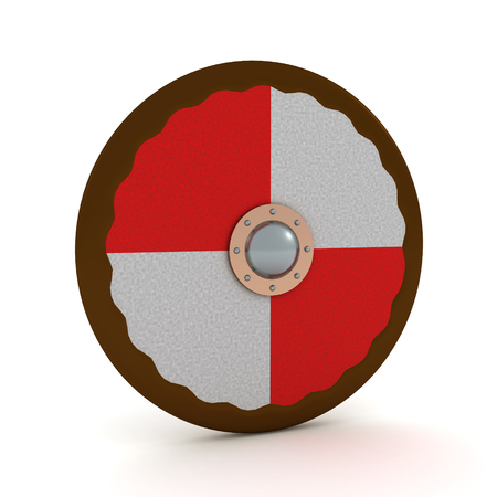 3D Rendering of viking shield. 3D rendering isolated on white. 写真素材