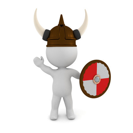 3D Viking with shield. 3D rendering isolated on white. 写真素材