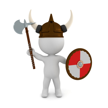 3D Viking with shield and  battle axe. 3D rendering isolated on white. 写真素材