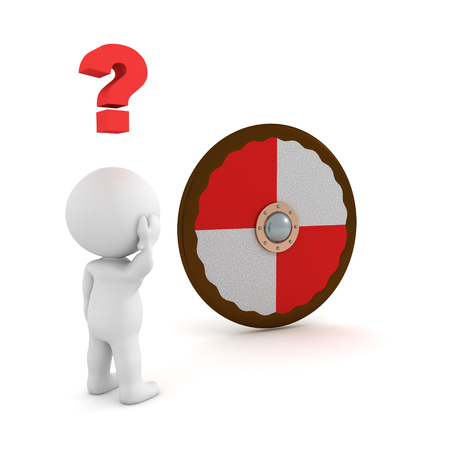 3D Character looking confused at viking shield. 3D rendering isolated on white. Imagens - 120629459