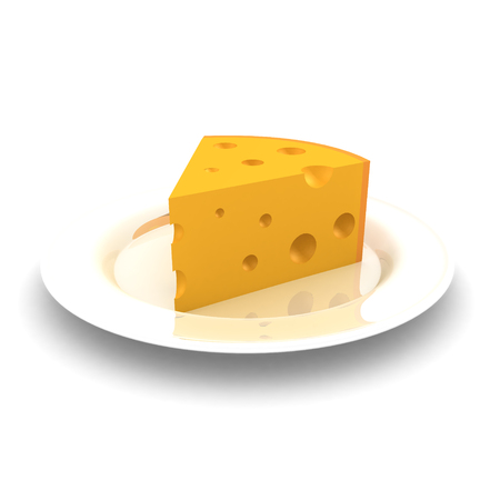 3D Rendering of plate with cheese. 3D rendering isolated on white.