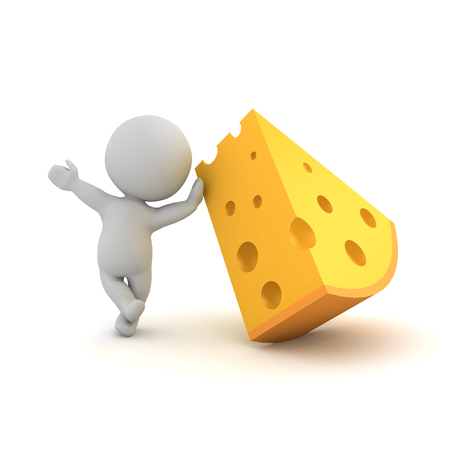3D Character leaning on a piece of cheese. 3D rendering isolated on white.