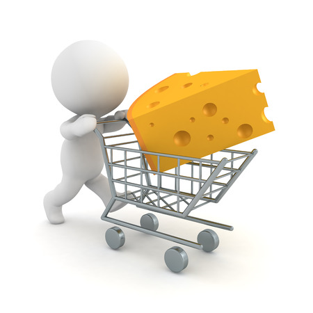 3D Character buys a piece of cheese. 3D rendering isolated on white. Banco de Imagens