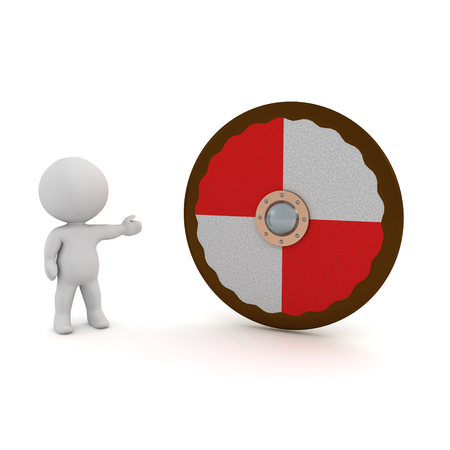 3D Character showing viking shield. 3D rendering isolated on white. 写真素材