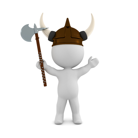 3D Viking with battle axe. 3D rendering isolated on white.