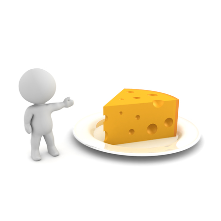 3D Character showing a plate with cheese. 3D rendering isolated on white.
