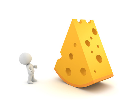 3D Character looks up at big cheese. 3D rendering isolated on white.