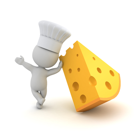 3D Chef leaning on piece of cheese. 3D rendering isolated on white.
