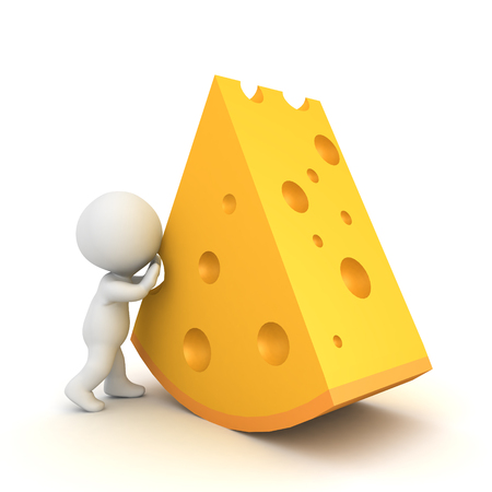 3D Character pushing giant cheese. 3D rendering isolated on white. Foto de archivo