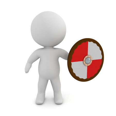 3D Character with viking shield. 3D rendering isolated on white.