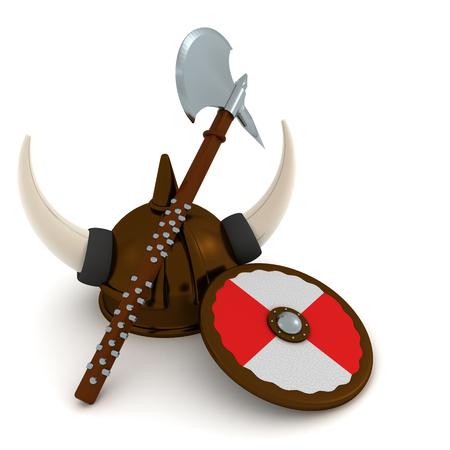 3D Rendering of viking helmet axe and shield. 3D rendering isolated on white. Stock fotó