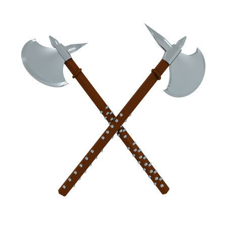 3D Rendering of two battle axes. 3D rendering isolated on white.