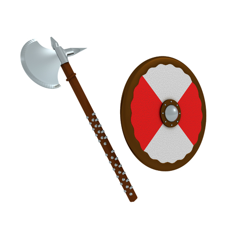 3D Rendering of axe and shield. 3D rendering isolated on white.