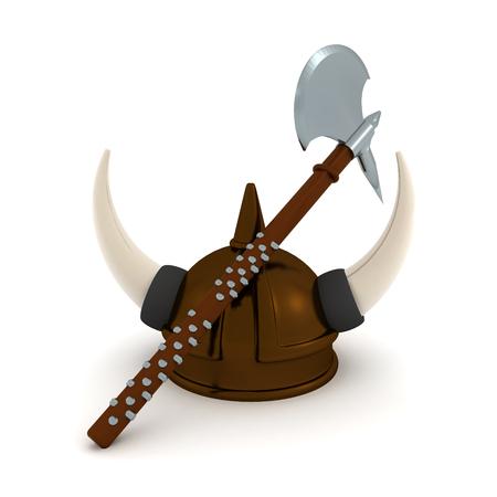 3D Rendering of viking axe and helmet. 3D rendering isolated on white. Imagens - 120773396