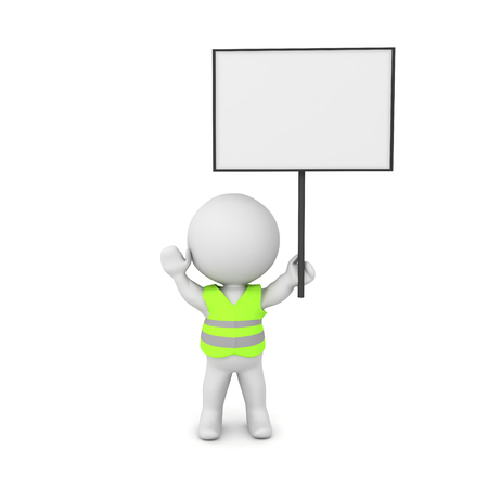 3D Rendering of yellow vest protester with sign. 3D rendering isolated on white.
