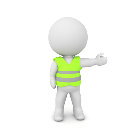 3D Character wearing a yellow vest. 3D rendering isolated on white.