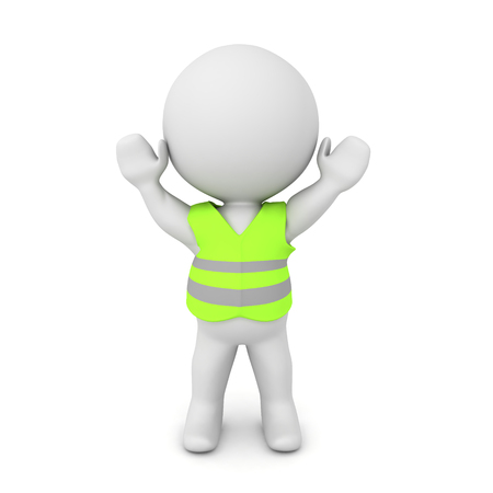 3D Character with yellow vest and hands raised. 3D rendering isolated on white.
