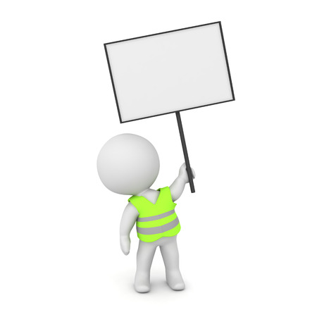 3D Character with yellow vest and protest sign. 3D rendering isolated on white.