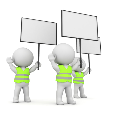 3D Rendering of group of french yellow vests. 3D rendering isolated on white.