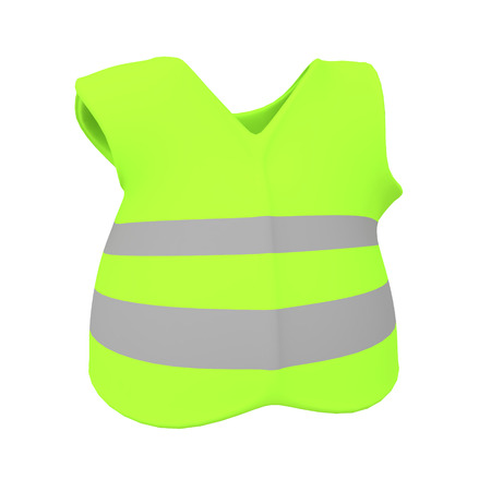 3D Rendering of yellow vest. 3D rendering isolated on white.