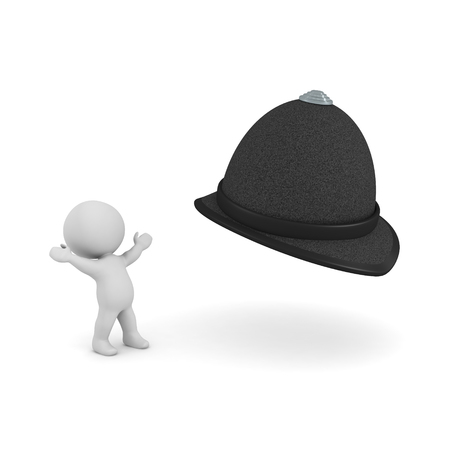 3D Character looking in awe at constable hat. 3D rendering isolated on white.