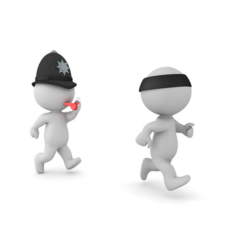 3D British police man chasing criminal. 3D rendering isolated on white.