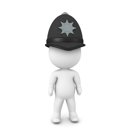 3D Rendering of keystone cop. 3D rendering isolated on white.
